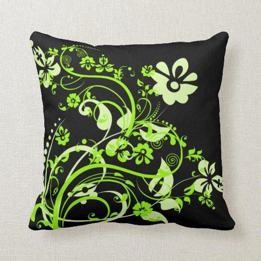 Green Floral Design Throw Pillows Zazzle