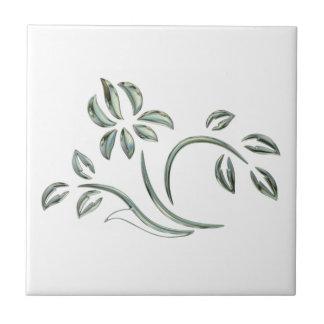 Green Floral Design Tile