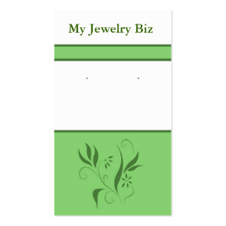 Green Floral Earring Cards Business Cards