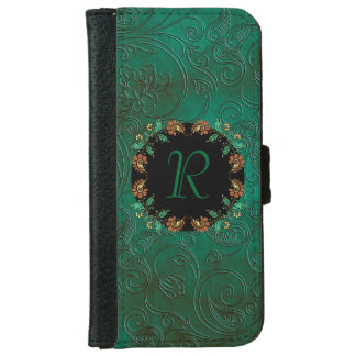 Green Floral Emossed Look iPhone 6 Wallet Case