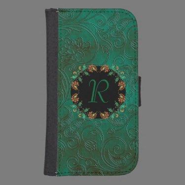 Green Floral Emossed Look Samsung S4 Wallet Case Galaxy S4 Wallet Case