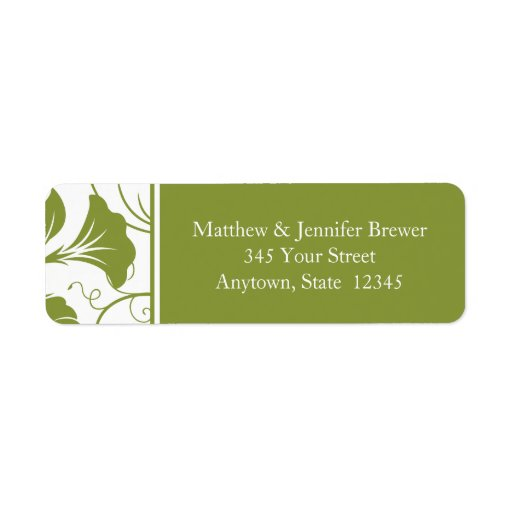 Green Floral Envelope Return Address Labels Custom Return Address Labels