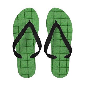 Green Floral Flip Flops