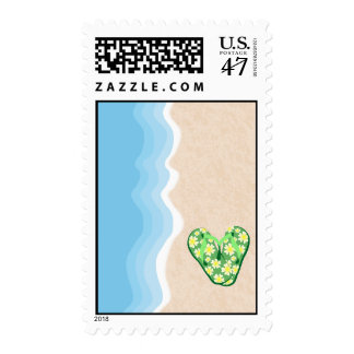 Green Floral Flip Flops on the Beach Postage
