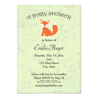 Green Floral Fox Woodland Baby Shower Card