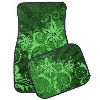 Green Floral Grunge Floor Mat