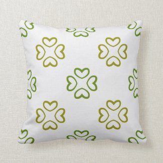 Green Floral Hearts Reversible Pattern Throw Pillow