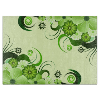 Green Floral Hibiscus Glass Chopping Boards Cutting Boards