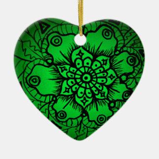 Green Floral Mandala Jr. Ceramic Ornament