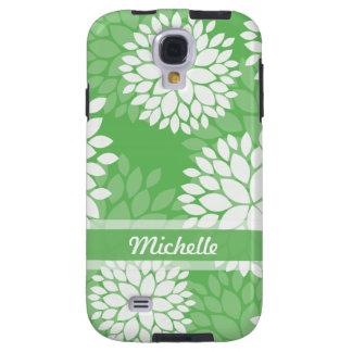 Green Floral Monogram Galaxy S4 Case