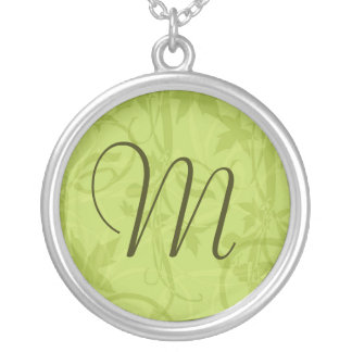 Green Floral Monogram Necklace