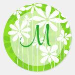 Green Floral Monogram Seal Classic Round Sticker
