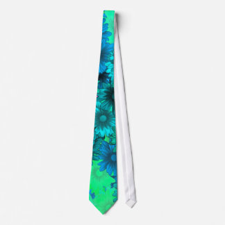Green floral neck tie