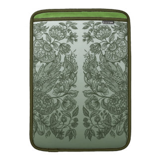 Green floral ornament MacBook sleeve
