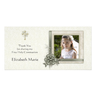 Green Floral, Ornate Frame, Religious Photo Card