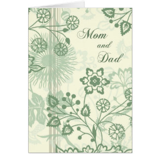 Green Floral Parents  Wedding Day Thank You Card
