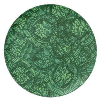Green Floral Patio Plate