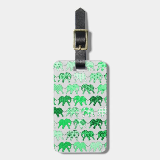 Green Floral Pattern Elephants Travel Bag Tags