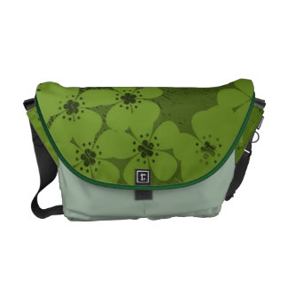 Green floral pattern grunge vintage courier bag