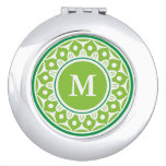 Green Floral Pattern Monogrammed Travel Mirror