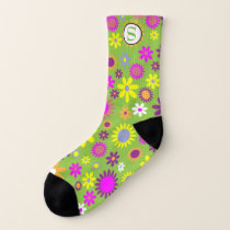 Green Floral Pattern Socks With Monogram