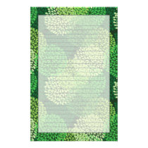 Green floral pattern stationery