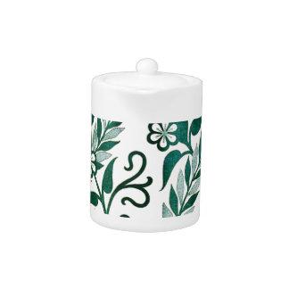Green Floral Pattern Teapot