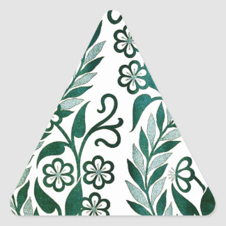 Green Floral Pattern Triangle Sticker