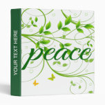 Green Floral Peace Sign 3 Ring Binders