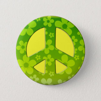 GREEN FLORAL PEACE SIGN BUTTON