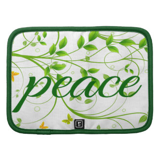 Green Floral Peace Sign Sleeves Organizers