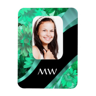 Green floral personalized photo magnet
