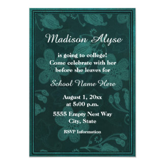 """Green Floral Photo  """"Off To College"""" Invite"""