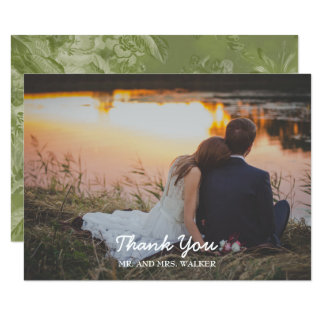 Green Floral Photo Wedding / Shower Thank You Card