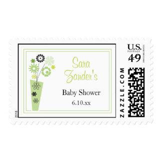 Green Floral Postage Stamp