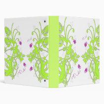 GREEN FLORAL PURPLE FLOWERS VINYL BINDER