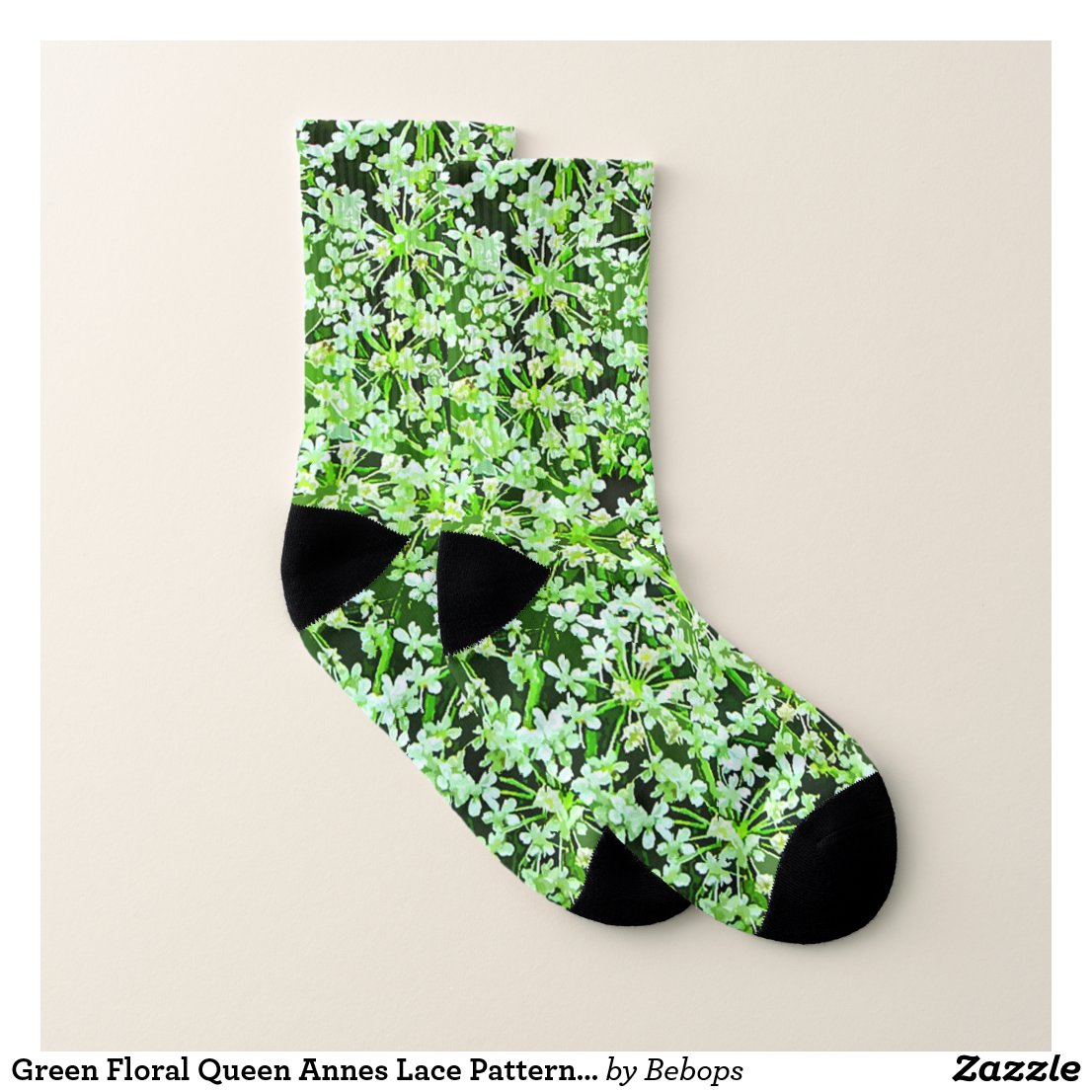 Green Floral Queen Annes Lace Pattern Socks