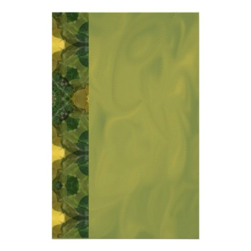 Green Floral Scrapbook Paper Stationery