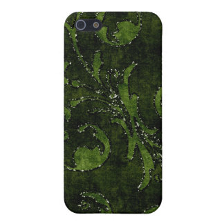 Green Floral Sequin Glitter Velvet Look Case Covers For iPhone 5