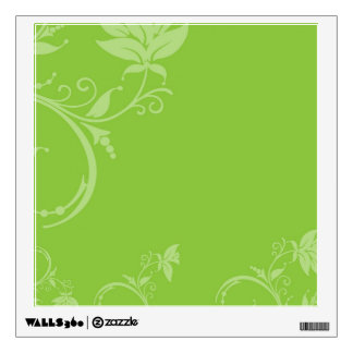 Green Floral Square Wall Sticker