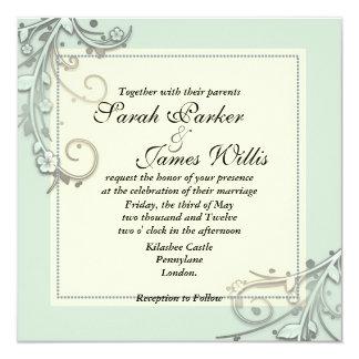 Green Floral Square wedding Invites