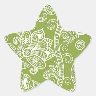 green floral star sticker