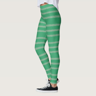 Green Floral Stripe Leggings