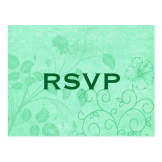 Green Floral Swirl RSVP Postcard