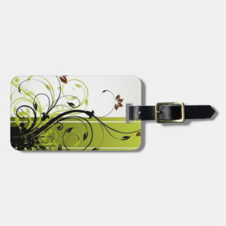 Green Floral Swirl Tags For Bags