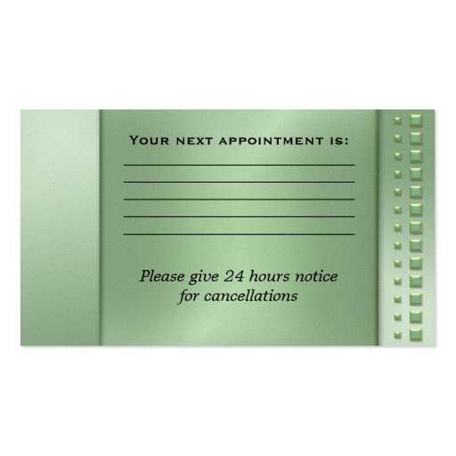 Green Floral Swirls Appointment Business Card (back side)