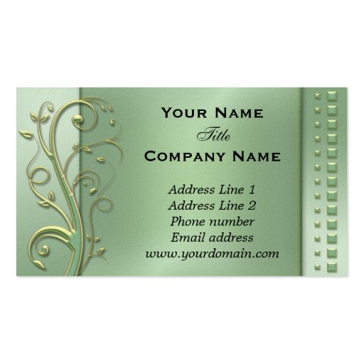 Green Floral Swirls Appointment Business Card (front side)