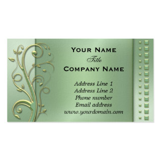 Green Floral Swirls Appointment Business Card