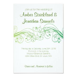 Green Floral Swirls Invitation