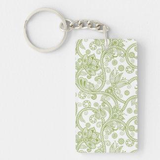Green Floral Swirls Keychain